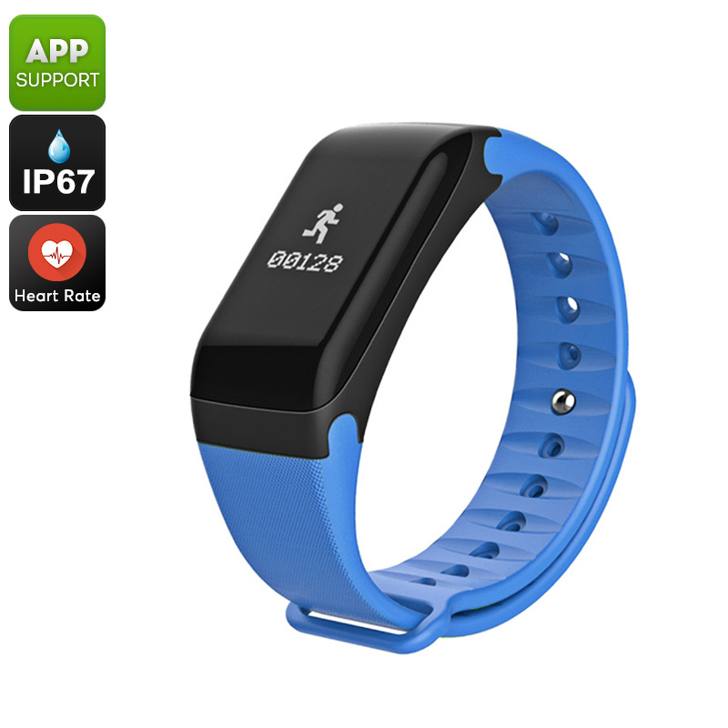 Fitness Tracker Bracelet - Heart Rate Monitor, Blood Pressure, Pedometer, Distance Counter, IP67 Waterproof (Blue)