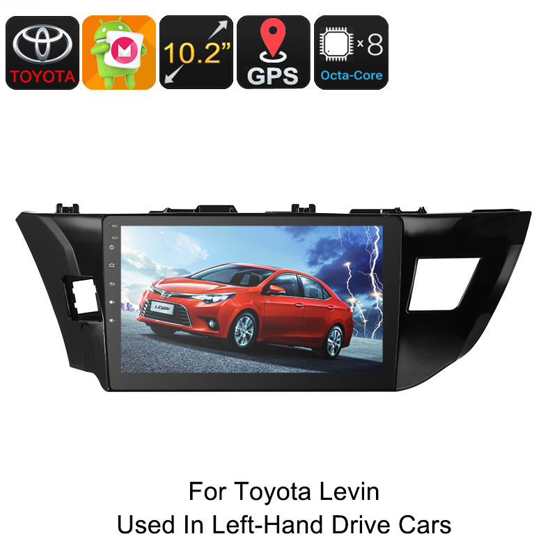 One DIN Car Stereo - For Toyota Levin, 10.2 Inch, HD Display, Android 6.0, GPS, Octa-Core, 4GB RAM, WiFi, 3G, CAN BUS, Bluetooth