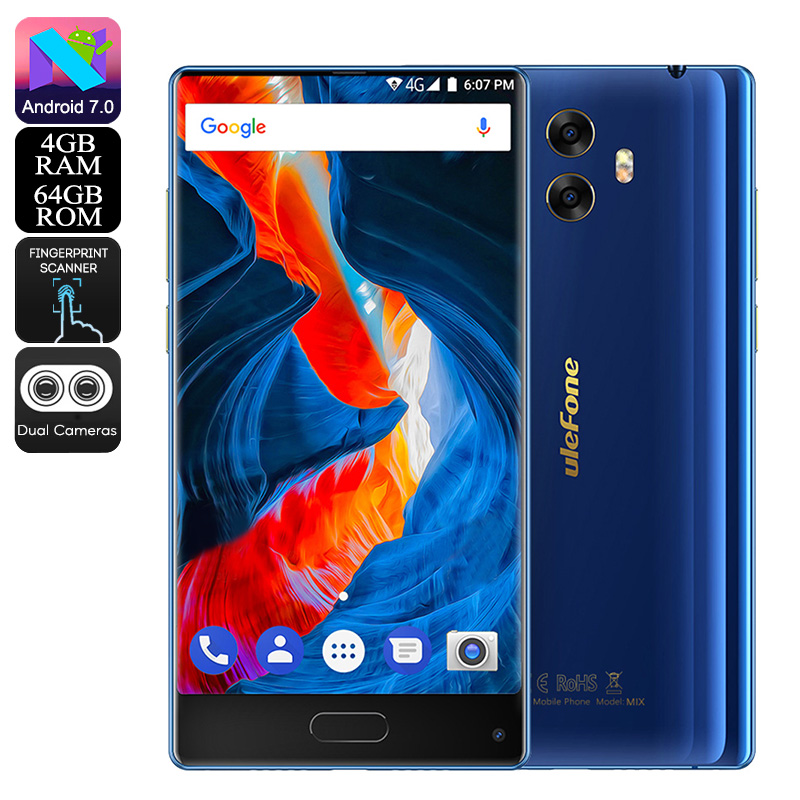 HK Warehouse Preorder Ulefone MIX Android Phone - Bezel-Less, 13MP Dual-Rear Camera, Android 7.0, Dual-IMEI, 4G, 4GB RAM (Blue)