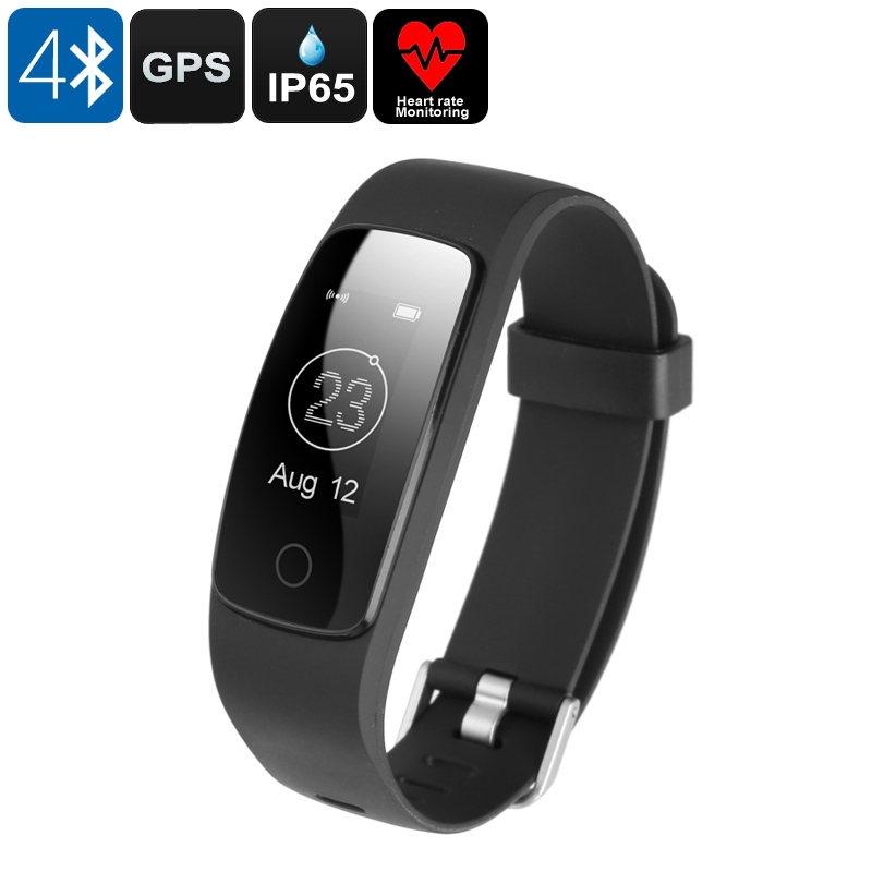 Bluetooth Fitness Band - Bluetooth 4.0, 0.96 Inch OLED Display, IP65, Heart Rate Monitor, GPS Connect, Sedentary Alert (Black)