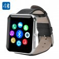 Bluetooth 4.0 Smartwatch – Toughened OGS Panel, Premium Leather Strap, Pedometer, Sleep Monitor, Sedentary Reminder (Silver)