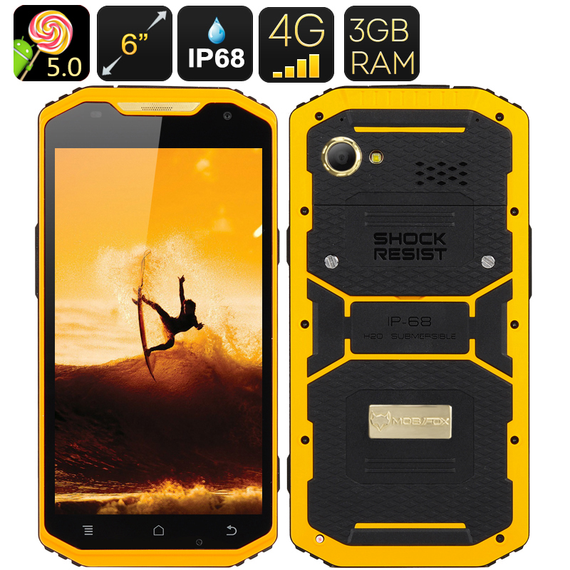 Mfox A10 Pro Gold Rugged Smartphone - 2.37g Au750 Gold, 6 Inch 1080P Screen, Android 5.0, 4G, Altimeter
