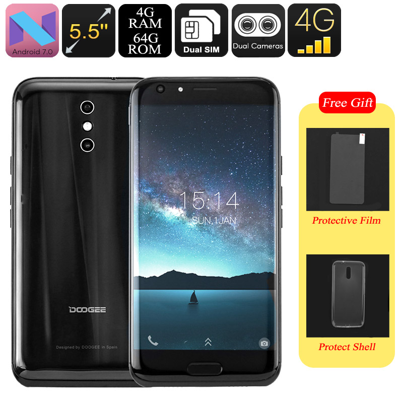 HK Warehouse Doogee BL5000 Android Smartphone - Octa-Core CPU, 4GB RAM, Android 7.0, 1080p, 5050mAh, 13mp Dual-Cam (Black)