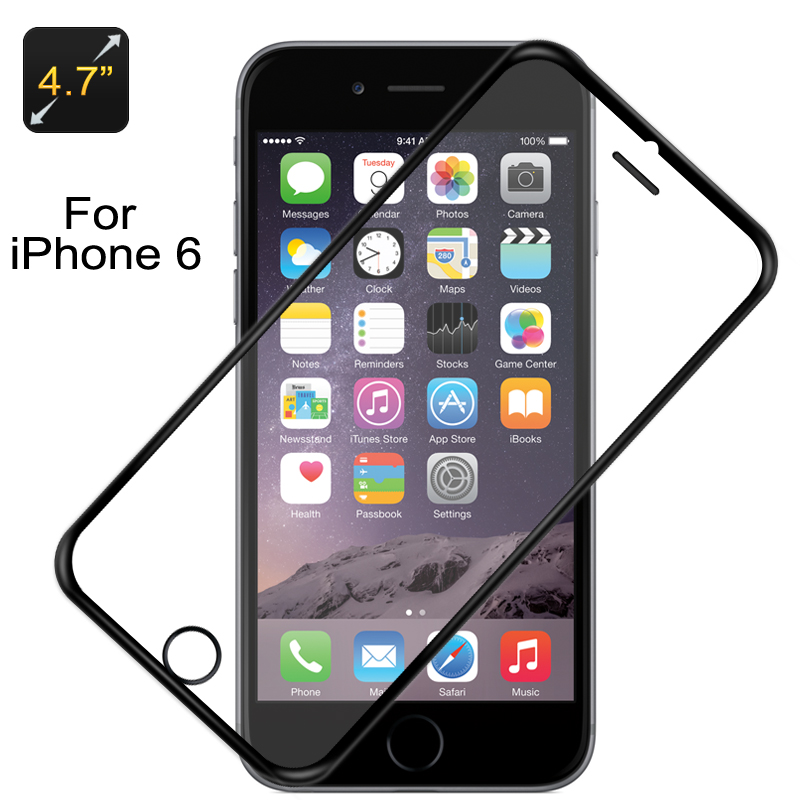 Glass Screen Protector For iPhone 6 And iPhone 6S  - 0.3mm Ultra Slim, Super Hard H9 (Black Border)