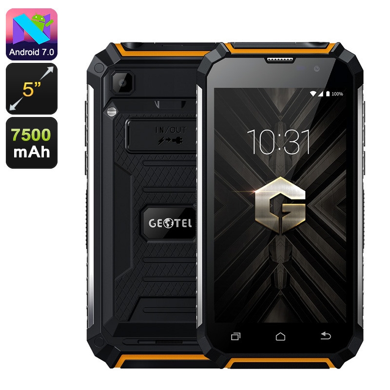 Geotel G1 Android Phone - Quad-Core, 2GB RAM, Android 7.0, Dual-IMEI, 3G, 5-Inch HD Display, 7500mAh, Google Play (Orange)