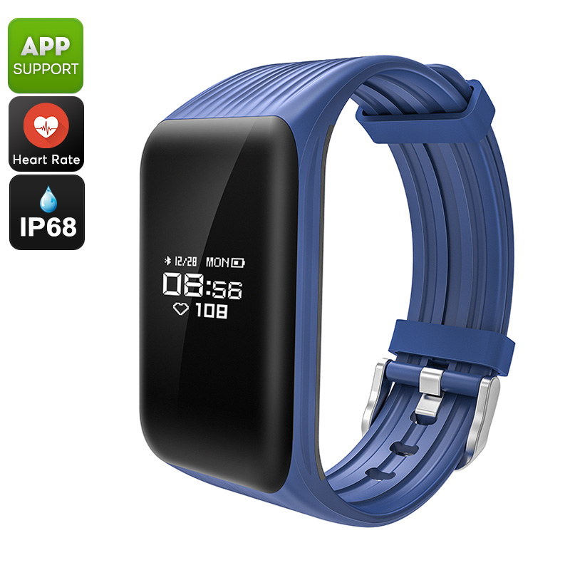 K1 Fitness Tracker Bracelet - Pedometer, Sleep Monitor, Heart Rate, Distance Tracker, Calorie Counter, IP68, APP (Blue)