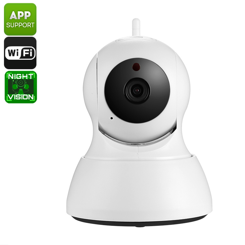 HD Security Camera - Indoor Usage, 1/4-Inch CMOS, Motion Detection, Night Vision, SD Recording, App Support, PTZ, WiFi Wireless