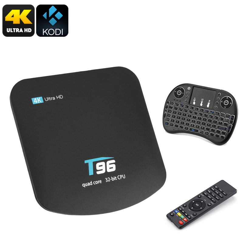 T95 TV Box And Wireless Keyboard - 92Key Querty Kbrd, 4K x 2K, Quad Core CPU, Kodi 16.1, DLNA