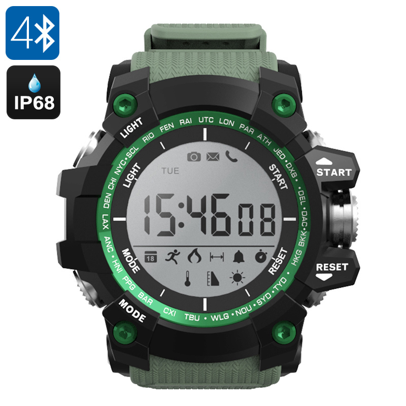 NO.1 F2 Outdoor Bluetooth Watch - IP68, Pedometer, Thermometer, Altimeter, Stopwatch, App Support, Call Reminder (Green)