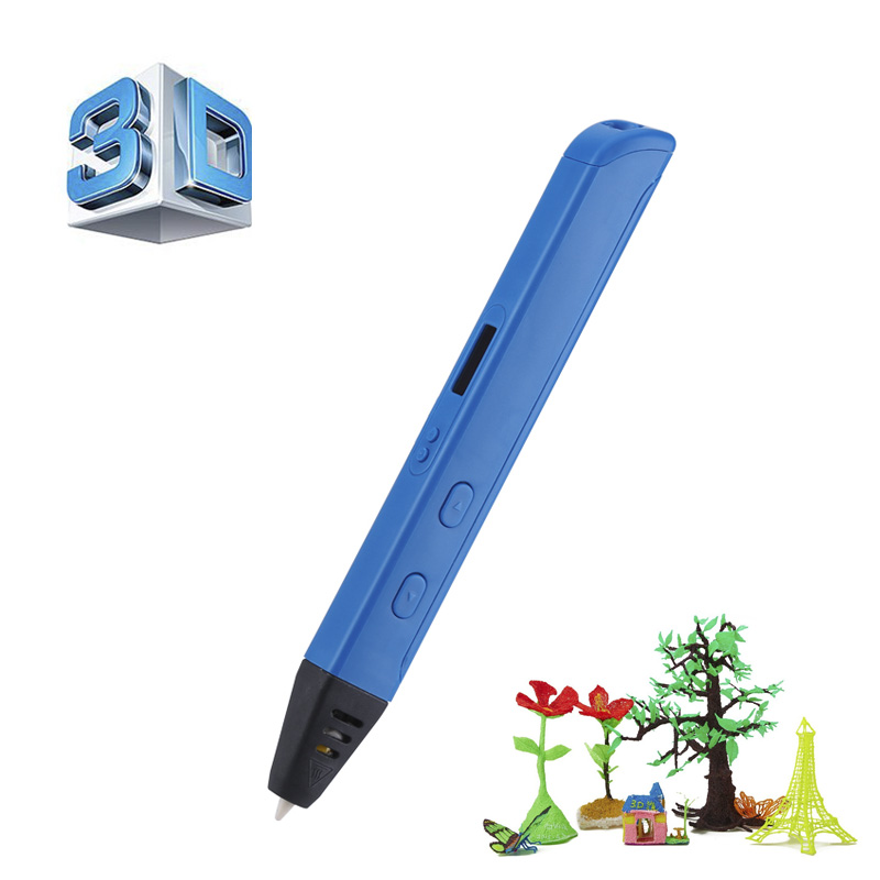 Professional Printing 3D Pen with OLED Display - ABS Filament, Different Printing Speeds + Temperatures, 6mm Nozzle (Blue)