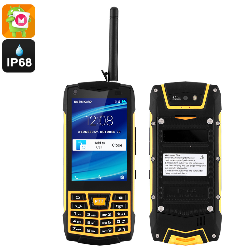 Rugged Android 6.0 Smartphone - IP68, Quad-Core CPU, Walkie-Talkie Feature, Google Play, 5MP Cam (Yellow)