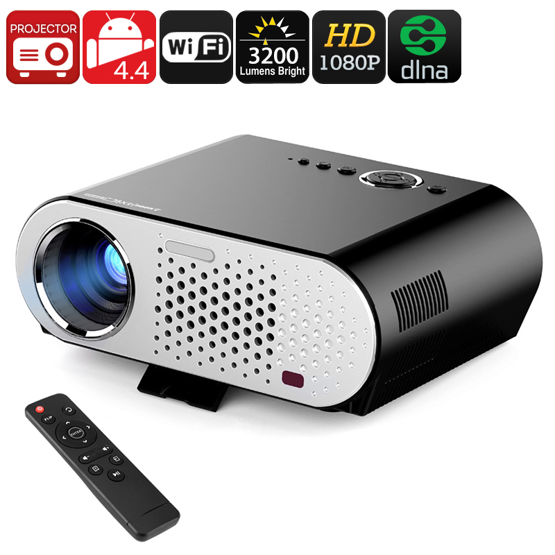 GP90 GP HD Projector - Android, Wi-Fi, DLNA, Airplay, Miracast, HD Resolution, 1080P Support, 3200 Lumen, 40 To 280 Inch Image