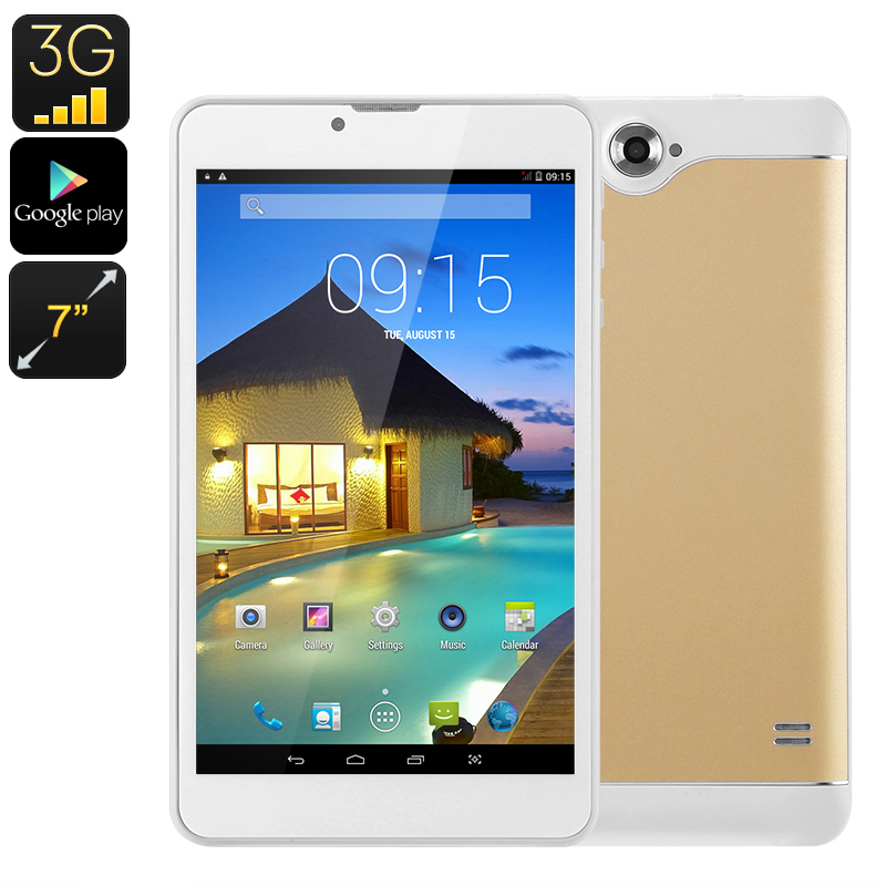 3G Android Tablet - Dual-IMEI, 7-Inch, HD Display, Bluetooth, Google Play, OTG, Quad-Core CPU, WiFi, 2500mAh