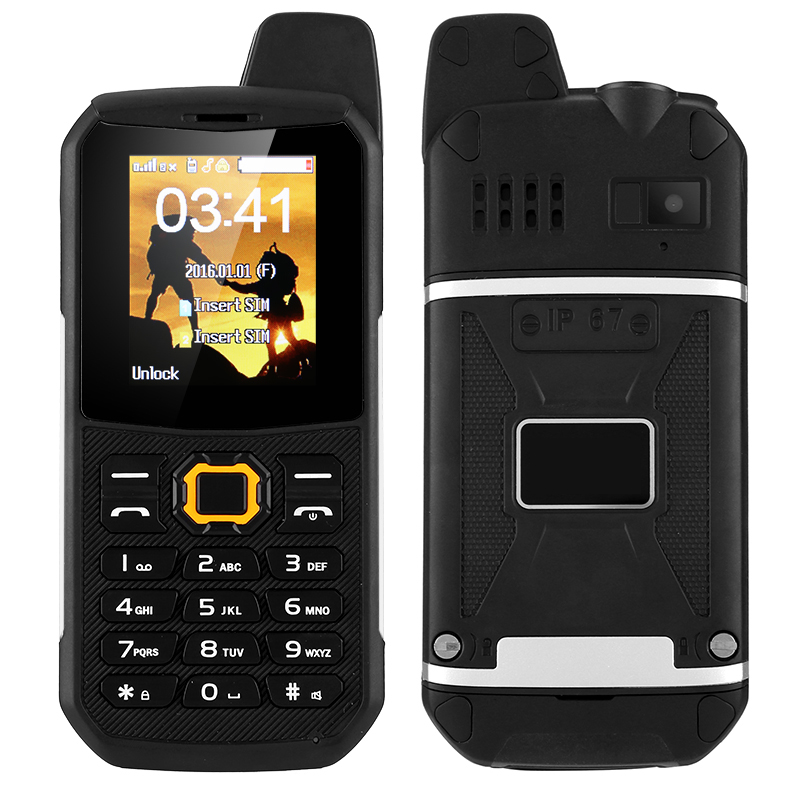 Rugged Outdoor Phone - IP67, Dual-IMEI, Walkie-Talkie, Camera, 3000mAh Battery, Power Bank Mode (Black)