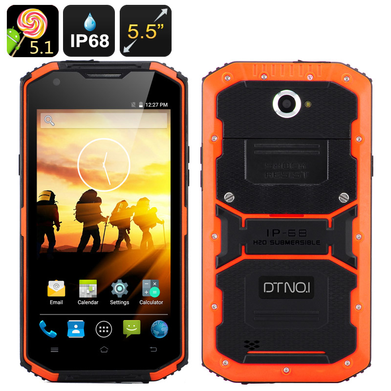 DTNO.1 Rugged Smartphone - 5.5 Inch HD Screen, Android 5.1, IP68,Dual SIM, SOS Button, LED Flashlight, Android 5.1 (Orange)
