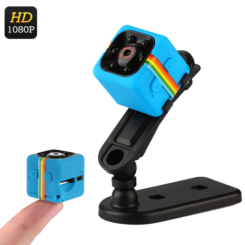 1080p Mini Sports Camera - CMOS Sensor, Motion Detection, 120-Degree Lens, Night Vision, 32GB SD Card Support, 200mAh (Blue)