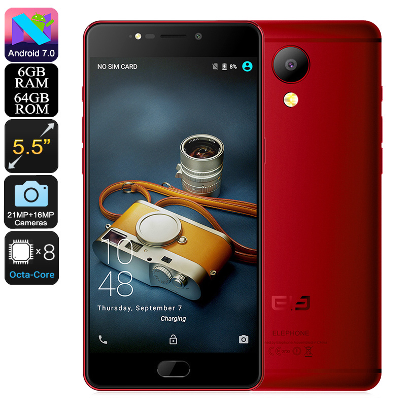 HK Warehouse Elephone P8 Android Phone - Android 7.0, FHD Display, Helio P25 CPU, 6GB RAM, 4G, Dual-IMEI, 21MP Camera (Red)