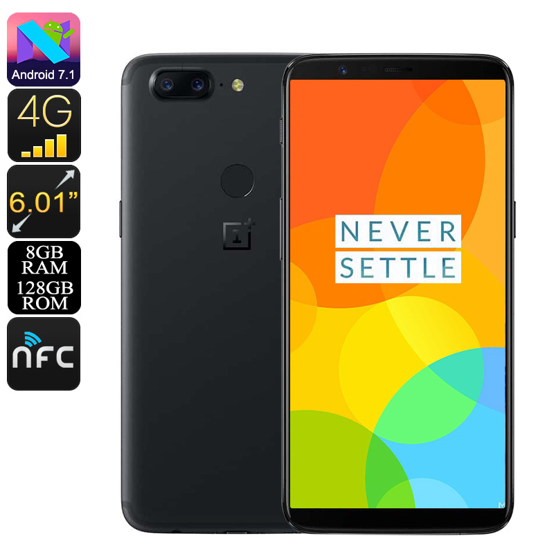 OnePlus 5T Smartphone - Snapdragon 835, 8GB RAM, 20MP Camera, 6-Inch 2K Display, Bluetooth 5.0, 4G, Dual-IMEI (128GB)