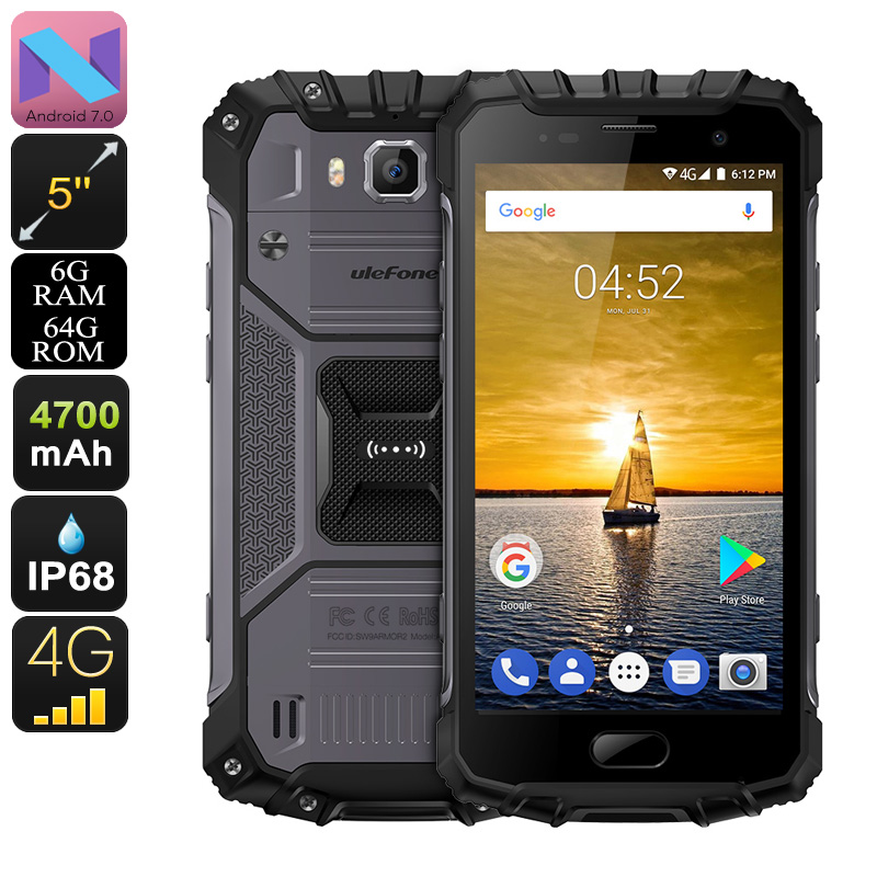 HK Warehouse Ulefone Armor 2 Android Phone - Android 7.0, 6GB RAM, 5-Inch FHD, IP68, Dual-IMEI (Gray)