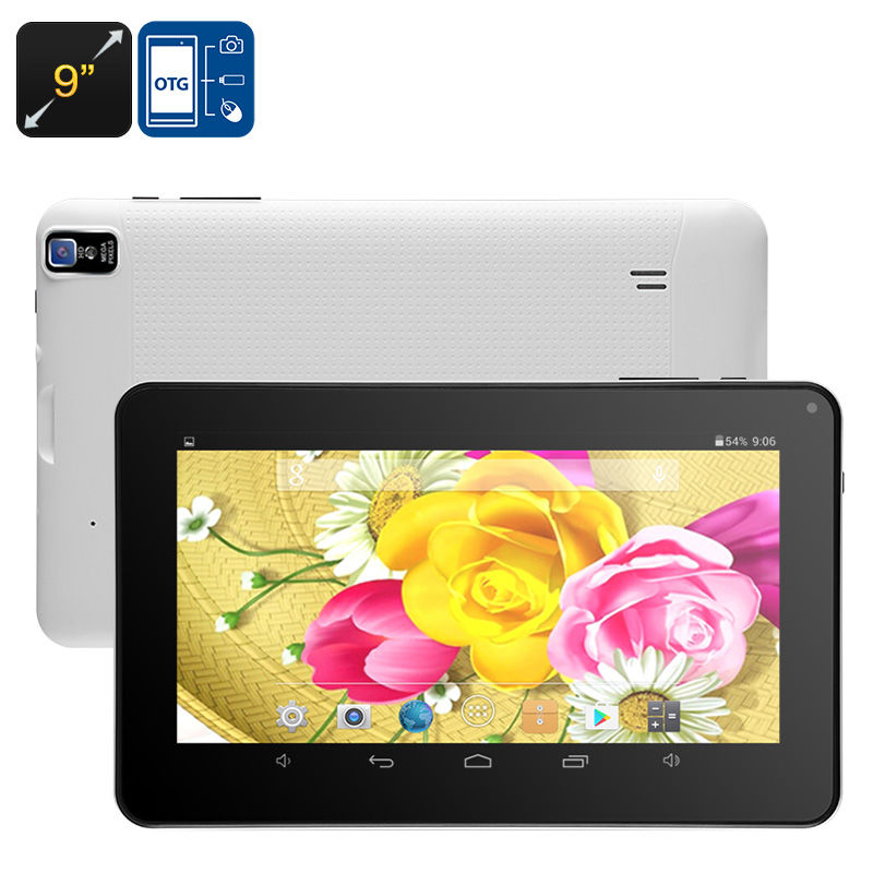 Android Tablet PC - Quad-Core, Bluetooth, OTG, 8GB ROM, 16GB SD Card Slot, 9-Inch HD Display, 3200mAh, WiFi